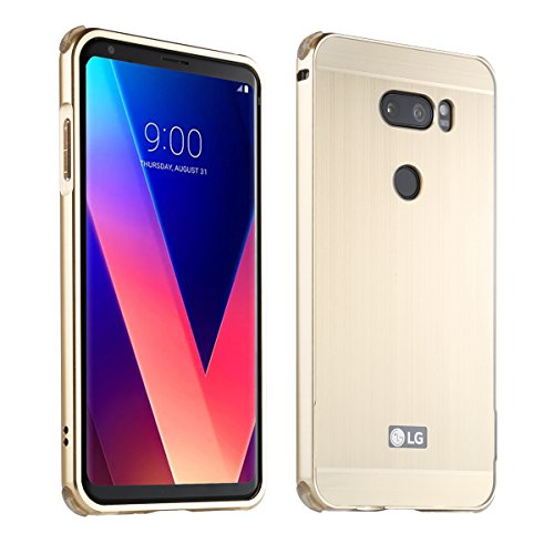 LG V30 UltraSlim Case Premium Aluminium Schutzhülle Rahmen für LG V30, Gold