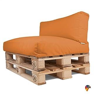 Arketicom SOFT PALLET SET CUSHIONS Seat + Backrest 120 cm OUTDOOR Living SOFA Orange Saffron