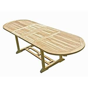 Générique Table de Jardin Ovale en Teck Extensible 180-280 x 90 Jambi - L 180 x l 90 x H 75