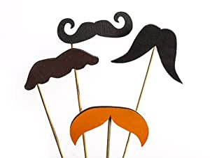 Wooden Moustaches on Sticks Photo Booth Props (4 per Set)