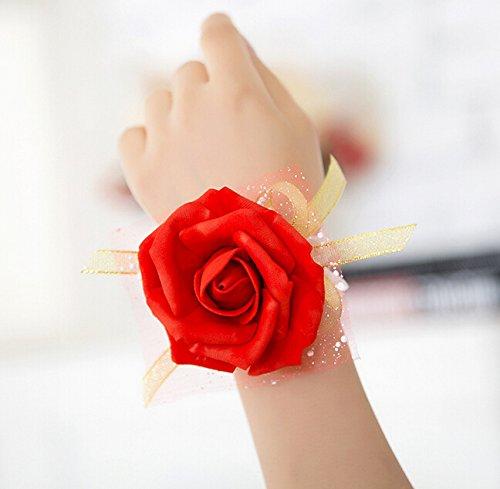 Vi.yo Handgelenk Blume Braut Brautjungfer Hochzeitsfeier Prom Kleid Blume Wrist Corsage Dekorative Band, 3 Stück (Rot)