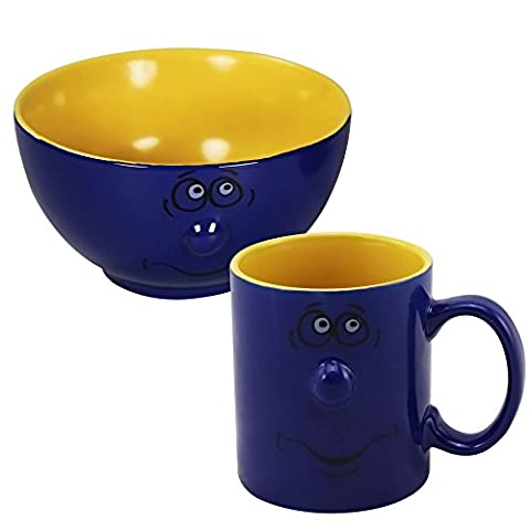 COM-FOUR ® Faces Coffee Mug with Matching Large Cereal Bowl Gift Set blau/ gelb