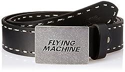 Flying Machine Mens Leather Belt (8907378882103_FMAL0454_Black_M)