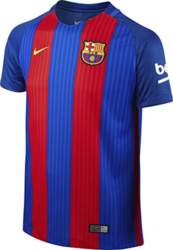 Nike FCB YTH SS Hm Stadium JSY Camiseta Línea F.C. Barcelona, Niños, Azul (Sport Royal/Gym Red/University Gold), L