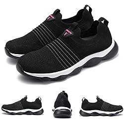 gracosy Zapatos de Mujeres para Correr Zapatillas de Paseo de Deporte sin Cordones Gimnasia Entrenamiento Sneakers Transpirables Sport de Deporte para Ligero Respirable Negro Rojo Verano
