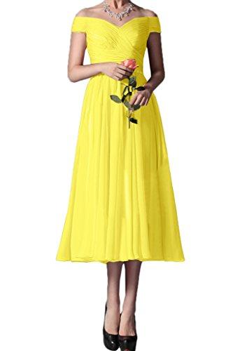 Ivydressing Damen Elegant Ab von der Schulter Chiffon Knoechellang Partykleid Promkleid Festkleid...
