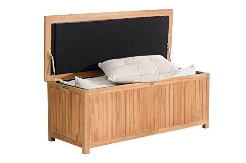 CLP Auflagenbox Odessa aus Teakholz I Gartentruhe für Kissen und Auflagen I In verschiedenen Größen erhältlich Länge 140 cm, 382 Liter