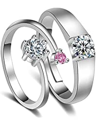 Peora Platinum Plated Solitaire Adjustable Promise Wedding Anniversary Engagement Couple Rings for Lovers