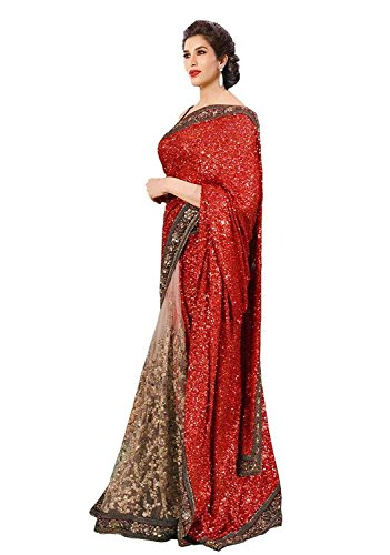 Party Wear Saree ( By Design Women\'s Red Licra And Net Saree With Blouse )