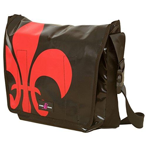 Large Messenger Bag LKW-Planen Taschen Sturm & Drang Schultertasche Uni Schule (Kunststoff Schwarz Messenger Bag)