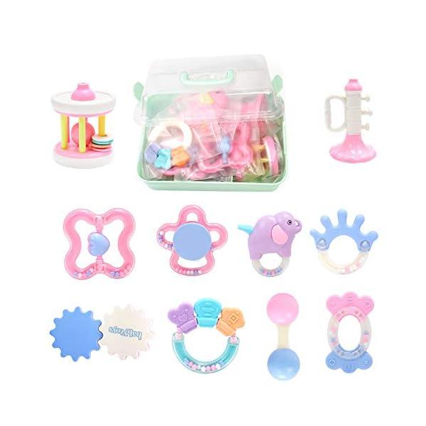 Vindar 10PCS Baby Rattles Teether Set,Grasping Grab Toy, Spin Shaking Bell, Sensory Teething Teether Rattle, Boiled Disinfection BPA Set for Infant Newborn Baby Toddler 1