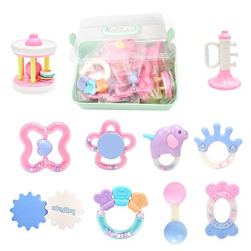 Vindar 10PCS Baby Rattles Teether Set,Grasping Grab Toy, Spin Shaking Bell, Sensory Teething Teether Rattle, Boiled Disinfection BPA Set for Infant Newborn Baby Toddler