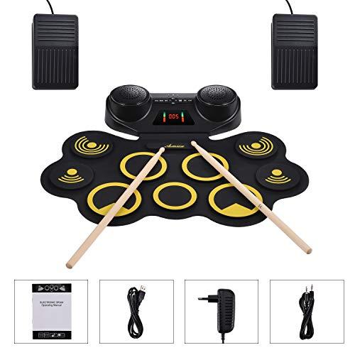Asmuse Roll up E Drum Set Tragbar Elektrische Schlagzeug 9 Pads mit Kopfhörer Eingebaute Dual Lautsprecher Bluetooth Funktion Schlägel und Pedal für Anfänger und Kinder