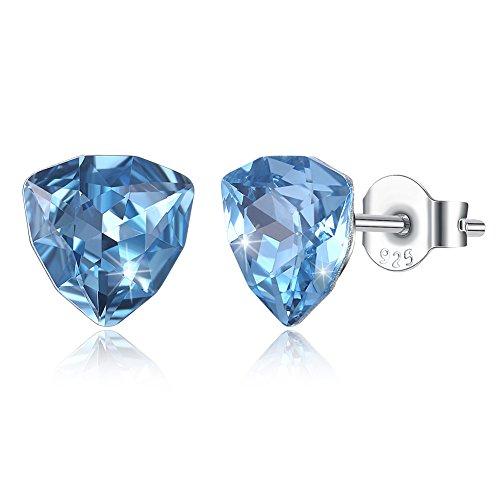rolicia donna s925 argento sterling elementi in cristallo swarovski blu moda orecchini a bottone
