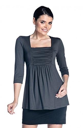 Zeta Ville - Top Empire-Taille 3/4 Ärmel quadratischen Ausschnitt - Damen - 560z (Graphit, EU 44, XL) (Empire-taille-shirt)