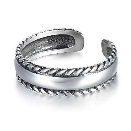 Guzhile Fashion 925sterling Silver MIDI anello retro intrecciato Bali corda Knuckle anello donna uomo regolabile a fascia finger/toe anello