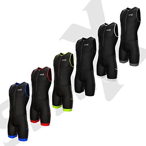 Sparx Herren Competitor Triathlon-Anzug Herren trisuits | Italienisches Technische Stoff | Weich Chamois | 4Taschen | Bike-Swim-Run, Schwarz/Weiß, X-Large