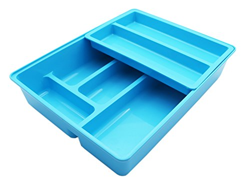 Firstwish Double Movable Cutlery Tray, 2 in 1 Cutlery Drawer Organizer Holder, 12 x 9.5 x 2.6, Colorfu (Blue)