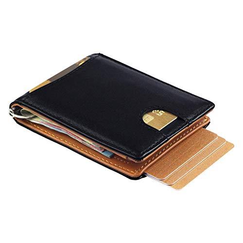 rivenditore di vendita 8c389 0f373 Portafoglio intelligente vera pelle con fermabanconote e tessere estraibili  con cinturino, portafogli slim porta carte di credito, protezione RFID