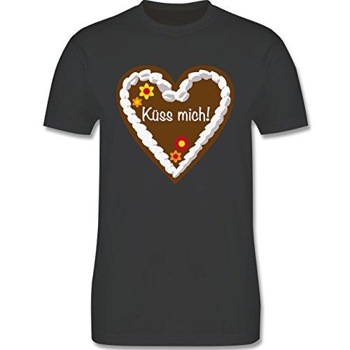 Oktoberfest Herren - Lebkuchenherz Küss mich - Herren Premium T-Shirt Dunkelgrau