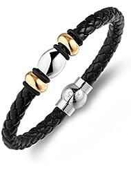 Lunavit Deluxe Duett bracelet magnétique, bracelet tressé en cuir, fermoir poli et des plaqué or perles, un aimant à 2000 Gauss de néodyme et une pierre germanium Ge32 - incluant une boîte cadeau