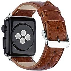 KZKR Bracelet Cuir pour Apple Watch 42mm pour Hommes Femmes Bracelet en Cuir Véritable Marron Noir Mode Décontracté Litchi Bande Bracelet Remplaçable B043-BRO-42 (Marron 42mm)