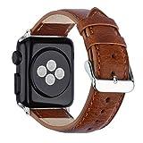 Uhrenarmbänder ZEIGER Leder Armband Uhrarmband Braun - Litschi Korn LederApple Watch Armband Edelstahl Faltschließe Uhr Armband 42mm Damen Herren Uhren Band für iWatch