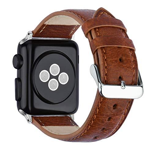 KZKR Bracelet Cuir pour Apple Watch 42mm 44mm Marron Série 1 2 3 4 Compatible Cuir Véritable Fissure Classique Verrouillage Amélioré Remplacement Boucle Ardillon Acier Inoxydable
