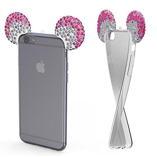 Urcover® Apple iPhone 6 / 6s Handyhülle Maus Ohren Bling Ear Schutzhülle Case Cover Etui Crystal Bär Maus Ohren Girl TPU Diamant Pink Silber Crystal Bling Case Cover