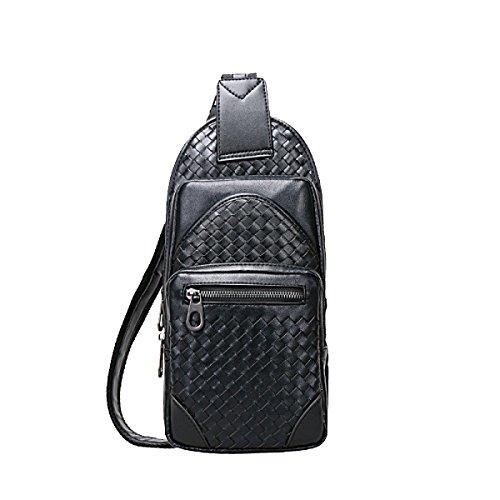 Bag Man Petto Yy.f Moda Casual Borse In Pelle Da Uomo Sacchetto Del Messaggero Tessuto Zaini Borse Di Colore Solido Nero Blu Black