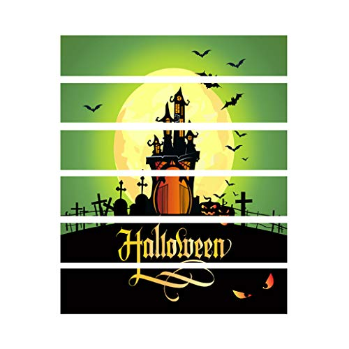 Element Gold Kostüm - Halloween 3D Treppenaufkleber, Crow Tombstone Pumpkin Element Treppenaufkleber, wasserdichter DIY Wandaufkleber, umweltfreundliches PVC, 100 x 18 cm x 6 Stück