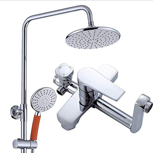 Modernes 3-Gang-Duschset aus galvanisiertem Kupfer, 8-Zoll-Regenspray für das Badezimmer + Handbrause + Mischbatterie (Fuß-rohr Led 4)