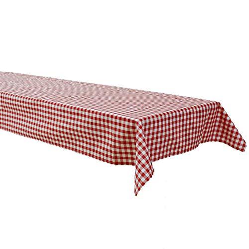 Hans-Textil-Shop Biertisch Tischdecke 130x270 cm Karo 1x1 cm Rot Baumwolle (Pflegeleicht, Bei 60° waschbar, Trocknergeeignet, Wiederverwendbar, Gewebtes Karomuster) (Baumwolle Gewebte Tischdecke)