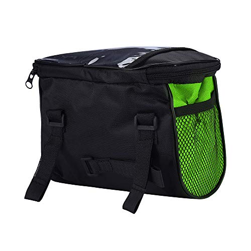 MMLC Fahrradtasche Rahmentasche Oberrohrtasche Fahrrad Handy Tasche Vorne Sensitive Touch-Screen Wasserdicht (Green) Green Touch Screen