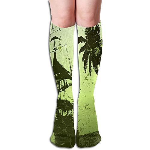 ouyjian Oberschenkel hohe Socken Baum und Schiff in grünem Muster athletische Kniestrümpfe 50cm