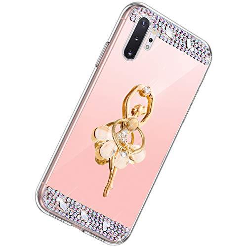 Herbests Kompatibel mit Samsung Galaxy Note 10 Plus Hülle Glitzer Mädchen Schuzhülle Spiegel Bling Strass Diamant Blumen Transparent TPU Silikon Handyhülle Tasche Ring Halter Ständer,Rose Gold