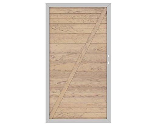 WPC System Sichtschutz Türe DIN links sandfarben mit 180x98cm, Metallrahmen silber – Sichtschutzzäune Sichtschutzwand Gartensichtschutz Balkonsichtschutz Winschutz