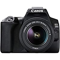 Canon EOS 250D Digitalkamera (24,1 Megapixel, 7,7 cm (3 Zoll) Vari-Angle Display, APS-C-Sensor, 4K, Full-HD, DIGIC 8, WLAN, Bluetooth) inkl. EF-S 18-55mm f/3.5-5,6 III Objektiv schwarz
