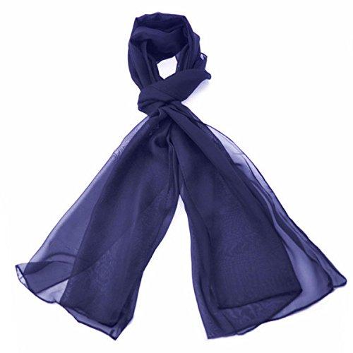 Klassische Ebene Chiffon Schal Licht Gewicht und WEICHEN Durchsichtige Halb Undurchsichtig Stoff 47 x 160cm - Luxuriöse Note Jeder Outfit Perfekte Täglich Wrap Schals (Navy Blau) (Herren-satin-schal)