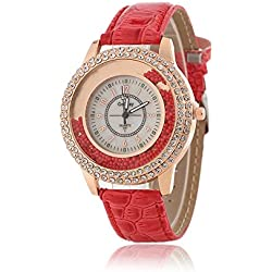 Women Fashion Designer Quartz Watch with Red Leather Band Ladies Rhinestone Wristwatch Diamond - Crystal Circle Bezel Drifting Small Beads Decoration