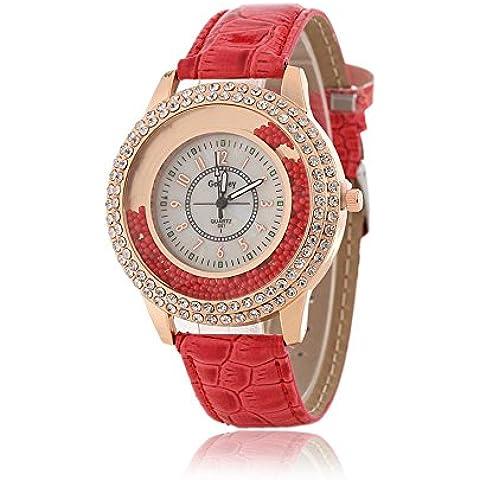 Donna Fashion Designer al quarzo con cinturino rosso in pelle Ladies Orologio strass lunetta diamante, cerchio, cristalli, perline decorazione