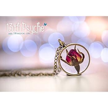 Gepresste Blume Halskette, inspirierende Brautjungfer Geschenk, echte Rose Halskette, getrocknete Rose Knospe Halskette, getrocknete Blumen Schmuck, Harz Schmuck.