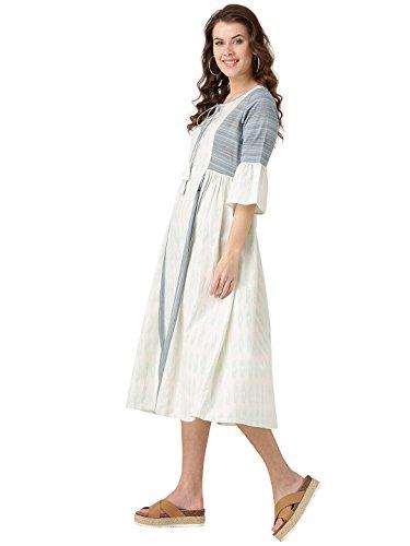 Desi-Fusion-Women-Off-White-Geometric-A-Line-Cotton-Flex-And-Handloom-Dress