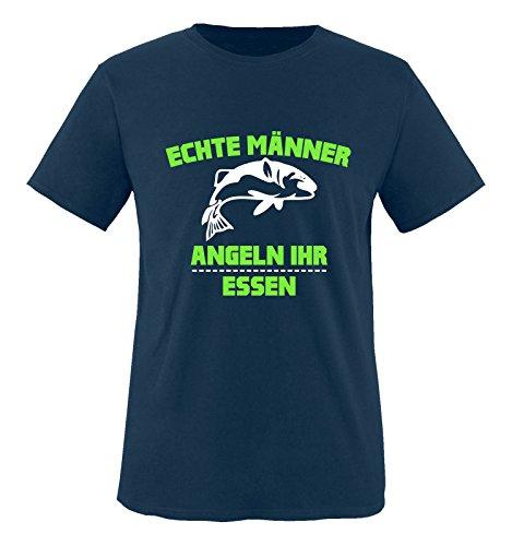Comedy Shirts - Echte Männer Angeln Ihr Essen. - Jungen T-Shirt - Navy/Weiss-Neongrün Gr. 152/164