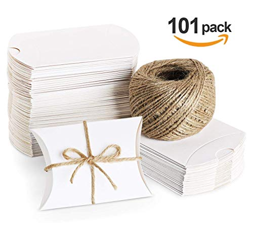 (Absofine 100 Stk. Weiß Süßigkeiten Karton Hochzeit Gastgeschenke Geschenkboxen 7x9cm mit Juteschnur 60M für Süßigkeiten Schmuck Einladung Geschenk Party Fest)