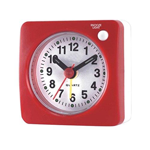 F Fityle Mini Wecker mit Nacht Beleuchtung, Analog Quarzwecker mit Schlummerfunktion, ansteigender Weckton - Rot