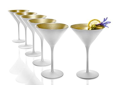 Stölzle Lausitz Olympic Cocktailgläser 240 ml, 6er Set, Cocktailkelch in weiß (matt) und gold, spülmaschinenfest, bleifreies Kristallglas, hochwertige