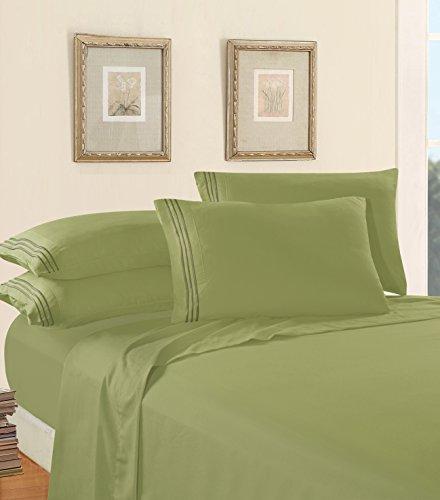 Luxus Bed Sheet Set auf Amazon. eleganten Komfort Kette Design 1500Fadenzahl Ägyptische Qualität Falten und farbbeständig 4er Set Bed Sheet, deep Pocket, hypoallergen–Queen, Salbei/Grün
