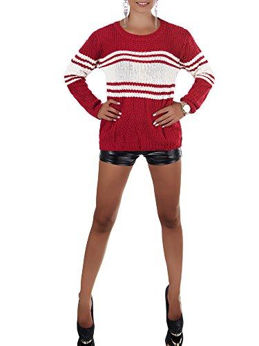 Damen Pullover im Grobstrickmuster, gestreift mit langen Ärmel und Rundhalsausschnitt, viele Farben, Gr. 34-38 Rot