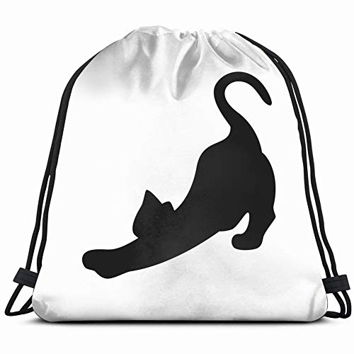 cat stretching silhouette on animals wildlife animal nature Drawstring Backpack Gym Sack Lightweight Bag Water Resistant Gym Backpack for Women&Men for Sports,Travelling,Hiking,Camping,Shopping Yoga (Happy Halloween Transparentes Logo)